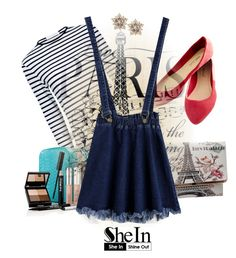 """Shine Bright: Blue Raw Hem Denim Strap Skirt"" by arrow1067 ❤ liked on Polyvore featuring Atea Oceanie, Wet Seal, Trish McEvoy and shein"