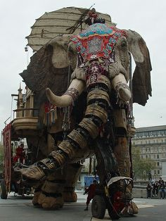 French street theater Royal de Luxe's 40 ton animatronic elephant, designed by François Delarozière