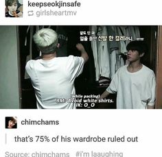 Priceless reaction plus Jungkook was wearing a white shirt as well. I can only imagine how jungshook he was