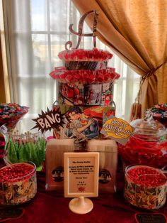 Candy Table; comic book theme;