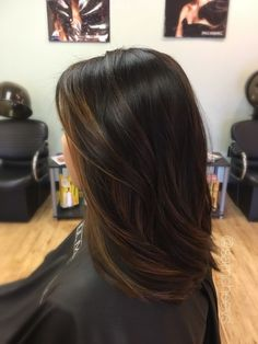 Balayage for dark hair, brown highlights for black hair, asian - indian - ethnic hair types. keep your hair beautiful with Straight Hairstyles, Cool Hairstyles, Black Hairstyles, Hairstyle Ideas, Modern Hairstyles, Updo Hairstyle, Medium Hairstyles, Hairstyles Haircuts, Weave Hairstyles