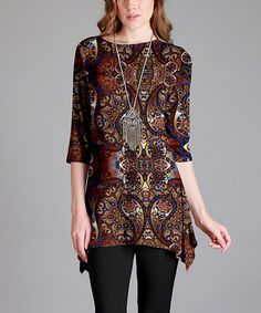 Look what I found on #zulily! Rust Geometric Sidetail Tunic - Plus Too #zulilyfinds