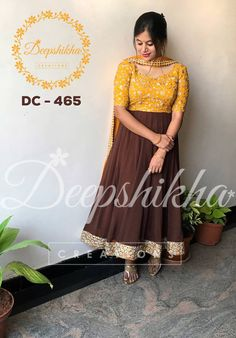 DC - Brown anarkali with yelloow bodice. Anarakali with elbow lenth sleeves and border. For queries kindly WhatsApp : 9059683293 12 January 2018 Anarkali Frock, Cotton Anarkali, Anarkali Suits, Anarkali Patterns, Salwar Pattern, Indian Gowns Dresses, Girls Dresses, Deepshikha Creations, Mode Bollywood