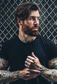 Medium Hair Cuts, Short Hair Cuts, Medium Hair Styles, Long Hair Styles, Mens Hairstyles With Beard, Haircuts For Men, Bearded Tattooed Men, Bearded Men, Beard Styles For Men
