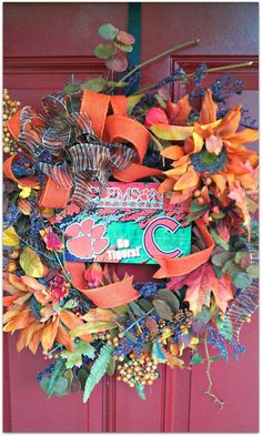 Clemson Wreath. $95.00, via Etsy. Cute but a lil too much for me.