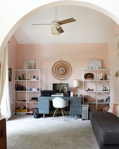 5 of the best pink paint colors from Sherwin Williams (office painted SW Romance) Pink Paint Colors, Office Paint Colors, Bathroom Paint Colors, Paint Colors For Home, Rustic Home Interiors, Home Office Decor, Home Decor, Trendy Home, Of Wallpaper