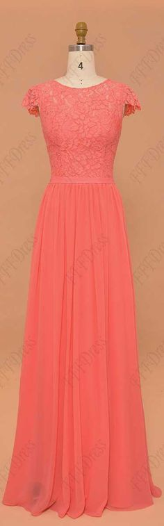 Coral bridesmaid dresses modest prom dresses cap sleeves long formal dresses