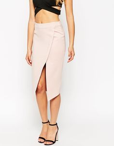 ASOS Wrap Pencil Skirt With Raw Edge