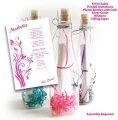 invitation in a bottle | Bottle Sweet 15 Invitations Kit Quinceanera Invitations, Quince Anos