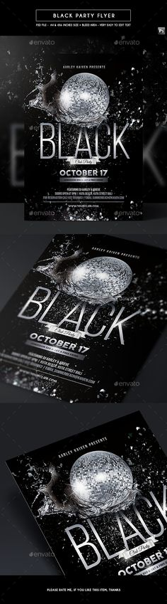 Black Party Flyer  — PSD Template #flyer #party • Download ➝ https://graphicriver.net/item/black-party-flyer/18038811?ref=pxcr