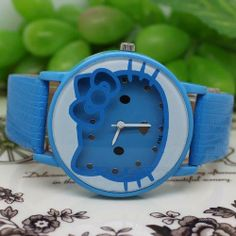 U-beauty New Blue Hello Kitty Face PU Leather Quartz Wrist Watches for Student or Girls Lovely cat face quartz wrist watches. PU leather watch band. New arrive and special. Colour:blue. Many colors,you can find on our shop.  #U-beauty #Toy