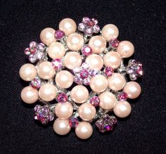 $18.50  Pink Flower Rhinestone Champagne Faux Pearl Cluster Brooch Pin Pendant Necklace ..... We are TOP RATED * POWER Sellers on EBAY * Selling WORLDWIDE. Visit us at our EBAY STORE * 4COOLSTUFF2BUY with any questions or items for sale.C105