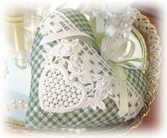 Sachet Heart Heart Sachet GREEN and IVORY Check by CharlotteStyle, $12.50
