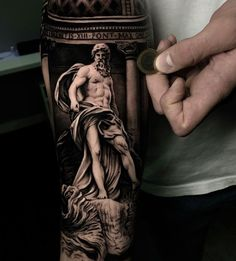 Neptune Statue at the Trevi Fountain in Rome. Tattoo by Sergio Fernandez, artist and owner of Seven Tattoo in Málaga, Spain. Cool Forearm Tattoos, Leg Tattoo Men, Body Art Tattoos, Sleeve Tattoos, Navy Tattoos, Wolf Tattoos, Unique Tattoo Designs, Unique Tattoos, Ma Tattoo