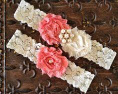 Pink Coral Wedding Garter Set-Coral and Ivory by HopesBridal