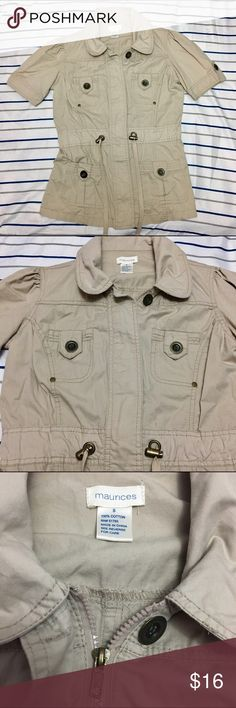 Tan Short Sleeved Utility Jacket This tan short sleeved utility jacket is in excellent condition. It has only been worn a handful of times. There are no holes or stains just a couple of loose threads that can be cut off. Maurices Jackets & Coats Utility Jackets
