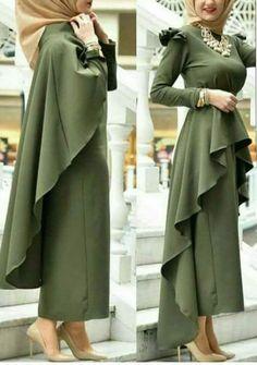 Asymmetrical Skirt Cape Patterns and Patterns Caftan Dress, Kaftan, I Dress, Abaya Fashion, Muslim Fashion, Fashion Dresses, Abaya Style, Hijab Dress Party, Eid Outfits