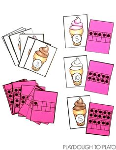 Activity for ages 4 to 6. I love using ten frames with my students because they're such a fun way to help them understand what numbers REALLY mean.  This super sweet ice cream math game has children match number and ten frame cards from 0-20.  It's the perfect math activity to use with young learners this summer! …