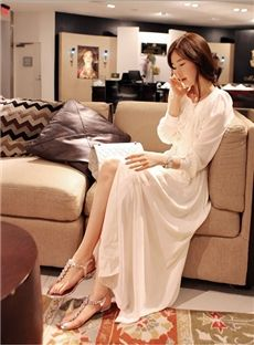 New Korean Style Long Sleeves Chiffon Maxi Dress