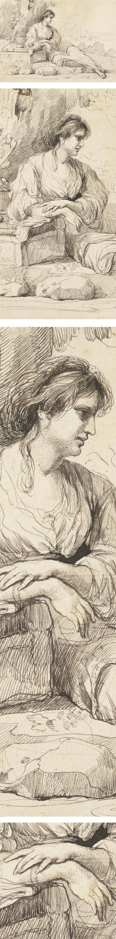 Reclining Female Figure in an Italian Landscape, John Hamilton Mortimer, pen and ink drawing