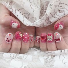Gel Nail Designs, Cute Nail Designs, Asian Nails, Korean Nails, Really Cute Nails, Hello Kitty Nails, Soft Nails, Gem Nails, Nail Time