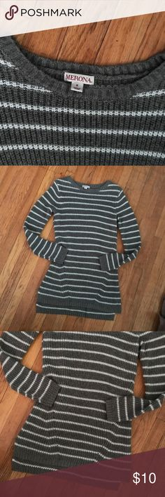 Long striped sweater Great condition. Would look great with leggings (I'm just too tall for that lol). Merona Sweaters Crew & Scoop Necks