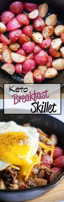 Perfectly roasted radishes topped with sausage, cheese and … Keto Breakfast Bowl! Perfectly roasted radishes topped with sausage, cheese and a perfectly cooked egg! Breakfast Low Carb, Ketogenic Breakfast, Breakfast Bowls, Breakfast Recipes, Breakfast Ideas, Breakfast Skillet, Ketogenic Meals, Sunday Breakfast, Breakfast Cereal