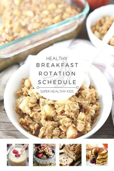 MEAL PLANNING - Healthy Breakfast Weekly Planner. Want a fun way to involve the whole family at breakfast time? With this handy rotation schedule each day of the week brings a fun new breakfast idea! http://www.superhealthykids.com/healthy-breakfast-rotation-schedule/