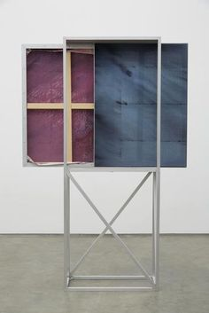Dean Levin - Autumn, 2015 Oil and pigment on canvas in aluminum armature  Cart: 80 x 13 x 31 inches 2 Paintings: 40 x 30 inches