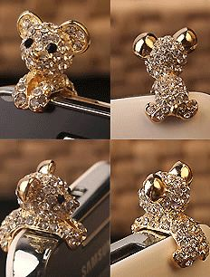 New Crystal Dog Puppy Bear Antidust Anti Dust ear cap for iphone HTC, Samsung: Cell Phones & Accessories Coque Iphone 5s, Cute Puppies, Dogs And Puppies, Ear Cap, Dust Plug, Iphone Accessories, Animal Jewelry, Cheap Fashion, Cool Things To Buy