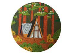 Laura Bernard Tiny house illustration #illustration #art #gouache #painting #cabin #woods #forest