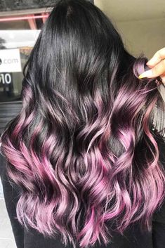 Hair Color 2018 Dark Hair With Purple Highlights ❤️ Dark purple hair: let us discuss the basics at first. This hair color is unnatural, that is, you cannot meet anyone who was born with such hair color. So, to get it, you need to get your hair dye. Dark Purple Hair Color, Purple Hair Highlights, Dark Ombre Hair, Dark Brunette Hair, Red Blonde Hair, Bold Hair Color, Ombre Hair Color, Dark Hair, Brunette Ombre