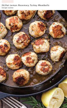 Skillet Lemon Rosemary Turkey Meatballs