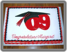 """For a girl's high school graduation party; 2-11x15"""" confetti cakes joined together, and decorated in buttercream."""