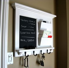 Framed Furniture Double Mail Organizer Storage and Shelf with Chalkboard, Bulletin Board Cork or Dry Erase and Keyhook
