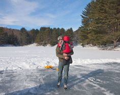 Play / ice skate on a frozen pond