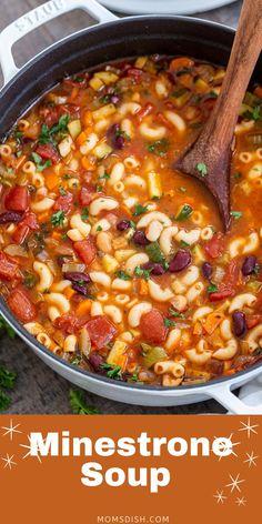 Italian Soup Recipes, Best Soup Recipes, Vegetable Soup Recipes, Healthy Soup Recipes, Vegetarian Recipes, Cooking Recipes, Garden Vegetable Soup, Veggie Soup, Olive Garden Minestrone Soup