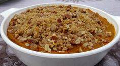 """Southern Sweet Potato Casserole with Streusel Topping. With sweet potato as the main ingredient, Thanksgiving is a perfect time to serve this healthy side dish high in antioxidants. For more great food and decorating ideas see our """"Healthier Thanksgiving"""" video www.youtube.com/..."""