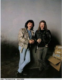 """A unique picture of TONY IOMMY of Black Sabbath and JAMES HETFIELD of Metallica, posing together. """"The World's No:1 Online Heavy Metal T-Shirt Store"""". Check it out NOW; www.HeavyMetalTshirts.net"""