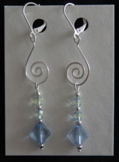 Earrings - crystal and glass with 925 silver-plated, nickel free hooks Crystal Earrings, Drop Earrings, Sea Glass, 925 Silver, Hooks, Silver Plate, Glass Beads, Crystals, Free