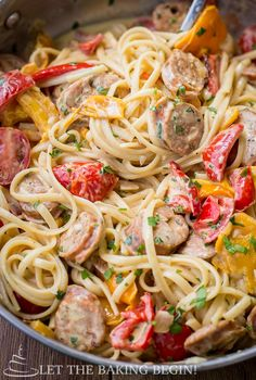 Sausage Pepper Fettuccini Skillet Let the Baking Begin!