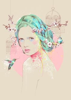 Cherry Blossom - Barcelona, Spain based artist Ariana Perez focused on digital paintings and created the amazing pieces in which feelings and emotions are perfectly injected. Art And Illustration, Street Art, Cherry Blossom Art, Arte Sketchbook, Poster S, Art Plastique, Love Art, Art Inspo, Art Drawings