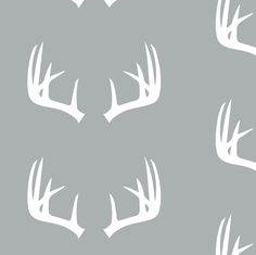 antlers on grey // small scale fabric by littlearrowdesign on Spoonflower - custom fabric