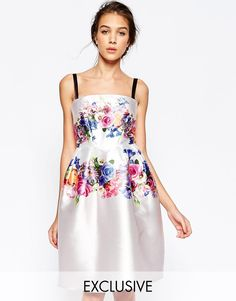 Hope+and+Ivy+Structured+Bandeau+Prom+Dress+In+Placement+Floral