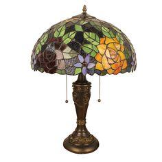 Lampe - Chambre à Coucher - 16 inch Lampe de table style rétro européen Abat-jour en verre de couleur à motif des fleurs luminaire pour salon chambre salle à manger