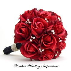 red wedding bouquets | red rose bridal bouquet real touch bling silk flowers rhinestones