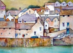 Mousehole Cornwall by Malcolm Coils Watercolor Sketch, Watercolor Landscape, Watercolour Painting, Watercolors, Mousehole Cornwall, Seaside Art, Arte Popular, Naive Art, Urban Sketching