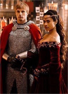 """Merlin"" Bradley James (Arthur) & Angel Coulby (Gwen)"