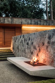 stylish fire outside a contemporary home  | adamchristopherdesign.co.uk