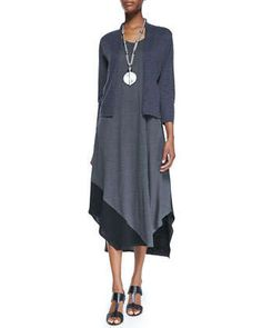 3/4-Sleeve Cardigan & Sleeveless Colorblock V-Neck Jersey Dress by Eileen Fisher at Neiman Marcus.